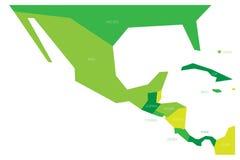 Mappa politica del Messico e di Amercia centrale Mappa piana schematica di vettore di Simlified in quattro tonalità di verde illustrazione di stock