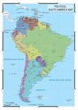 Mappa politica del Sudamerica Fotografia Stock Libera da Diritti