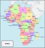Mappa politica dell'Africa con i nomi Fotografia Stock Libera da Diritti