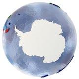 Mappa politica dell'Antartide Fotografia Stock