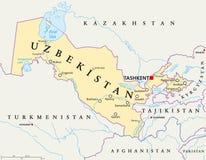 Mappa politica dell'Uzbekistan illustrazione di stock