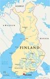 Mappa politica della Finlandia Immagini Stock
