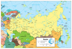 Mappa politica dettagliata di Federazione Russa Immagine Stock