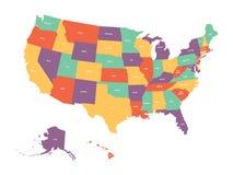 Mappa politica di U.S.A., Stati Uniti d'America Variopinto con lo stato bianco nomina le etichette su fondo bianco Vettore Immagine Stock