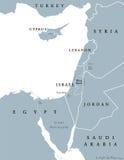 Mappa politica orientale dei paesi Mediterranei illustrazione di stock