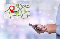 Mappa a posizione della destinazione di itinerario, mappa stradale di GPS con le icone di GPS fotografia stock libera da diritti