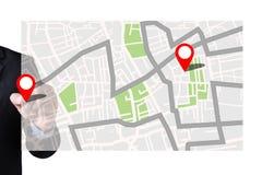 Mappa a posizione della destinazione di itinerario, mappa stradale di GPS con le icone di GPS immagine stock libera da diritti