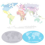 Mappa punteggiata dei continenti del mondo Fotografia Stock Libera da Diritti