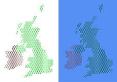 Mappa punteggiata dell'Irlanda e della Gran Bretagna illustrazione vettoriale