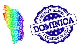 Mappa punteggiata di spettro di Dominica Island e della guarnizione del bollo di lerciume illustrazione vettoriale