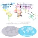 Mappa quadrata dei continenti del mondo Fotografia Stock