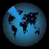 Mappa radar del mondo Fotografie Stock
