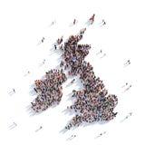 Mappa Regno Unito di forma del gruppo della gente Fotografie Stock