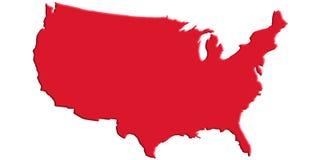 Mappa rossa degli Stati Uniti Fotografie Stock Libere da Diritti