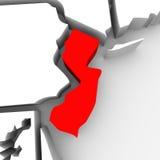 Mappa rossa Stati Uniti America dello stato dell'estratto 3D del New Jersey Immagini Stock