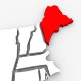 Mappa rossa Stati Uniti America dello stato dell'estratto 3D della Maine Immagine Stock Libera da Diritti