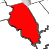Mappa rossa Stati Uniti America dello stato dell'estratto 3D di Illinois Immagini Stock Libere da Diritti