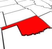 Mappa rossa Stati Uniti America dello stato dell'estratto 3D di Oklahoma Immagini Stock