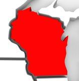 Mappa rossa Stati Uniti America dello stato dell'estratto 3D di Wisconsin Fotografia Stock