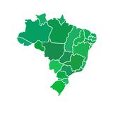 Mappa semplice piana del Brasile Fotografia Stock