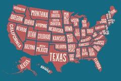 Mappa Stati Uniti d'America del manifesto con i nomi dello stato Fotografie Stock
