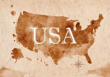 Mappa Stati Uniti retro Fotografia Stock Libera da Diritti