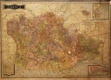 Mappa storica di Oaxaca, Messico Fotografia Stock