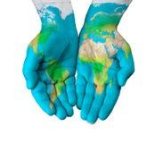Mappa sulle mani Fotografia Stock Libera da Diritti