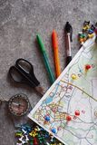 Mappa topografica variopinta per l'orienteering o lo sport rogaining fotografia stock libera da diritti