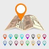 Mappa urbana con un insieme delle icone del puntatore Immagine Stock