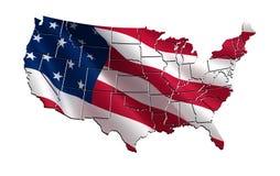 Mappa variopinta 3D di U.S.A. Fotografie Stock Libere da Diritti