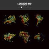 Mappe del continente Vettore astratto della priorità bassa Dots Isolated On Black variopinto Fotografia Stock Libera da Diritti