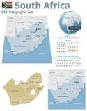 Mappe del Sudafrica con gli indicatori Fotografia Stock
