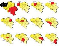 Mappe delle province del Belgio Fotografie Stock Libere da Diritti
