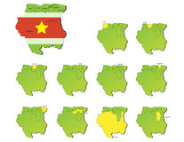 Mappe delle province del Surinam Fotografia Stock Libera da Diritti