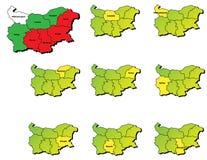 Mappe delle province della Bulgaria Immagine Stock