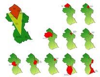 Mappe delle province della Guyana Fotografia Stock