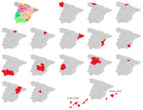 Mappe delle province della Spagna Fotografia Stock