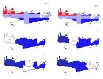 Mappe delle province di Creta Fotografia Stock Libera da Diritti