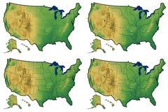 Quattro versioni della mappa fisica degli Stati Uniti Fotografia Stock
