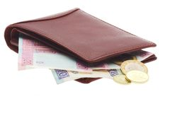 Mappe mit Geld Stockfoto