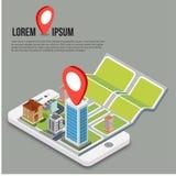 Mappe mobili isometriche piane di navigazione di 3d GPS Fotografia Stock
