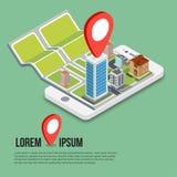 Mappe mobili isometriche piane di navigazione di 3d GPS Fotografie Stock Libere da Diritti