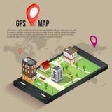 Mappe mobili isometriche piane di navigazione di 3d GPS Immagini Stock Libere da Diritti