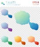 Mappe poligonali geometriche della Tahiti, stile del mosaico Fotografia Stock