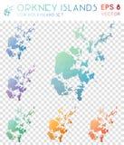 Mappe poligonali geometriche di isole Orkney, mosaico Immagini Stock