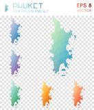 Mappe poligonali geometriche di Phuket, stile del mosaico Fotografie Stock