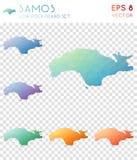 Mappe poligonali geometriche di Samos, stile del mosaico Fotografia Stock