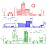 mappen för stadscityscapeprickar har den separata vektorn för illustrationlagerprydnaden Royaltyfria Bilder