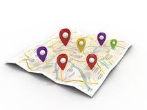 Mappi con gli indicatori di Pin Immagine Stock